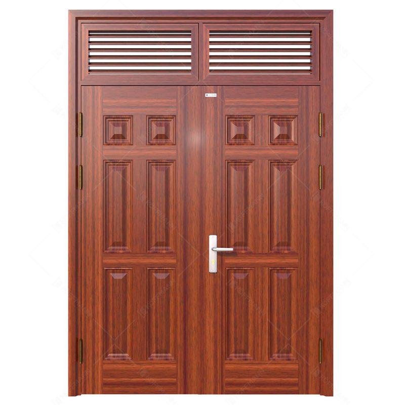 Cửa thép vân gỗ Koffman 2 cánh đều tại Ninh Bình