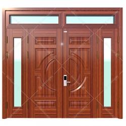 Cửa thép vân gỗ Koffmann 4 cánh lệch khoét kính Ninh Bình