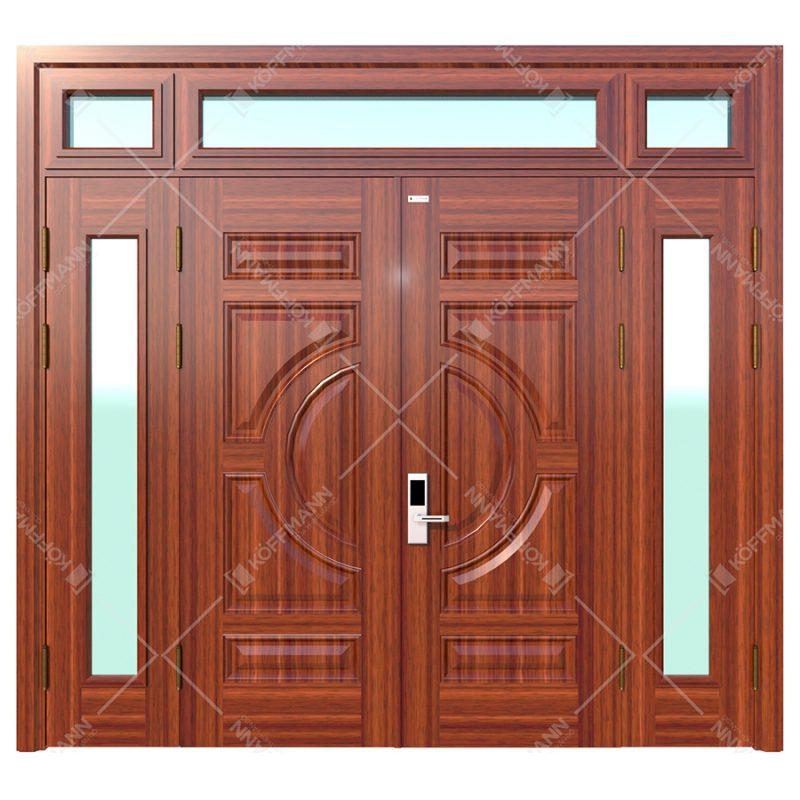 cửa thép vân gỗ Koffmann 4 cánh khoét kính, 3 ô thoáng kính tại Ninh Bình