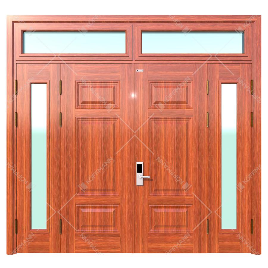 Cửa thép vân gỗ koffmann 4 cánh lệch khoét ô kính Ninh BÌnh