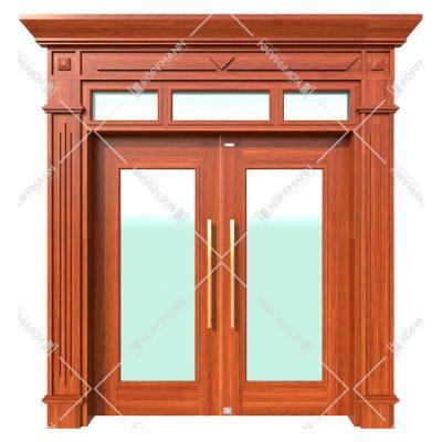 Cửa thép vân gỗ Koffmann thủy lực vách kính tại Ninh Bình