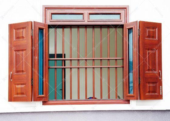 Mẫu chấn song cửa sổ bằng thép vân gỗ cao cấp của Koffmann